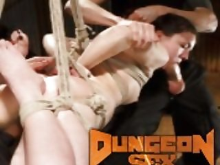 DP'ed and throat fucked in tight bondage