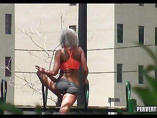 Watching Her workout in the park