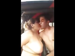 naked arab chubby woman with lover in car