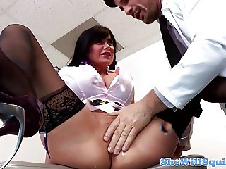 Busty squirting babe pussy fucked by doctor