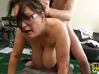Busty british MILF roughly fucked doggystyle