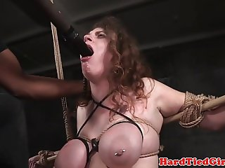 Bigtitted bdsm sub gagging on maledoms dildo