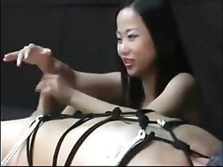 Best Asian Femdom and her slave Handjob