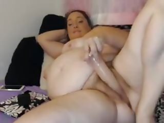 Fat bbw hairy pussy and ass dildo