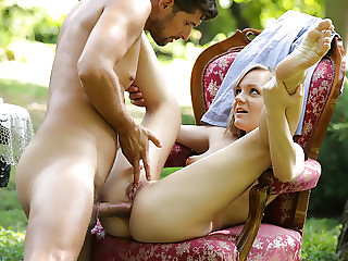 Lucette Nice enjoys deep anal sex outdoors