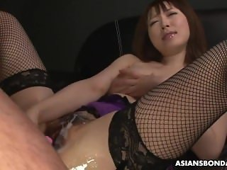 Asian slut strips sexy lingerie during the slippery masturbation session
