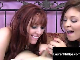 Busty Long Legged Lauren Phillips & Charlee Chase Give BJ!
