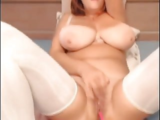 Sexy girl with huge natural tits fingering her wet pussy