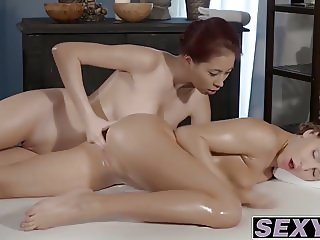 Nesy and Paula enjoying a good massage sex with each other