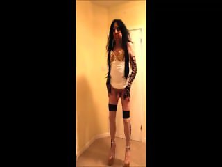Brunette tranny slut in white stud dress