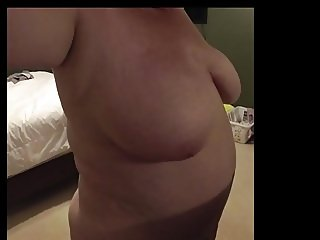 My BBW Brushing Her Hair After Shower