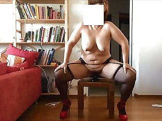 German PAWG hairy milf feeds cunt with new toy
