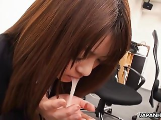 Pantyhosed Asian secretary receives a mouthful after being t