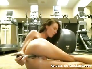 Anal toying in the gym