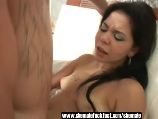 Sexy Blonde Shemale and Brunette MILF seduce Young Stud