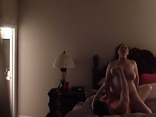 Fucking my bigtit wife Pt 3, During the superbowl