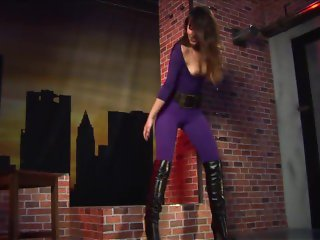 Lorena Garcia in Sexy Purple Catsuit and Leather Boots
