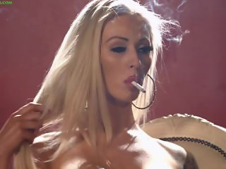 Topless Carly Maliboo smoking all whites cigarettes