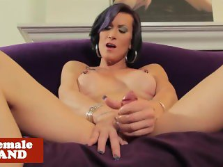 Busty inked trans beauty wanks cock solo