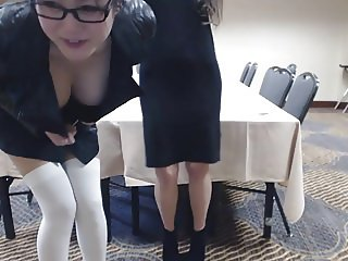 Lesbian game in the conference room