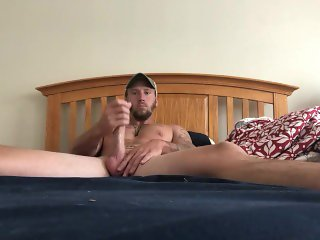 Big cock jerking off finish with dildo