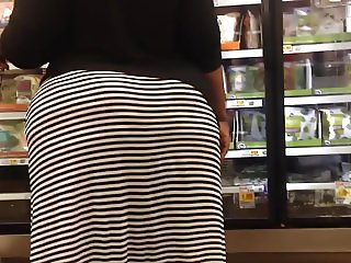 Dimple Booty BBW in Striped Skirt