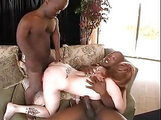 Redhead Creampied by Black Midget - Interracial Threesome