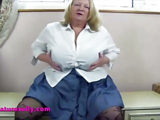 Vintage video of Mature Sally on holiday