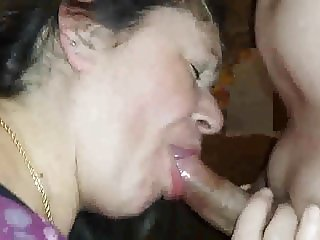 Mature BBW Wife Sucks Young Cock