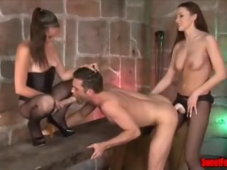 two mistress cptured a male slave