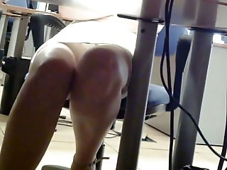 White Panties Upskirt Under Desk