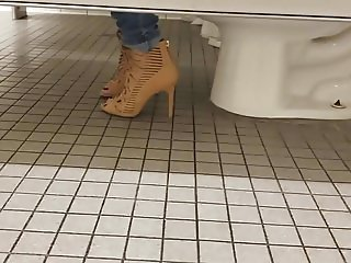 Gas Station Toilet Voyeur III (Sexy Brunette Chick In Heels)
