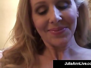 Elegant Milf Julia Ann Strips & Plays With Lingerie In Bed!