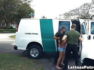 Real latina plowed by immigration officer