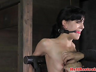 Hogtied slave cunt toyed during anal training