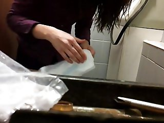 Sexy girl changing always pad in toilet pt.1