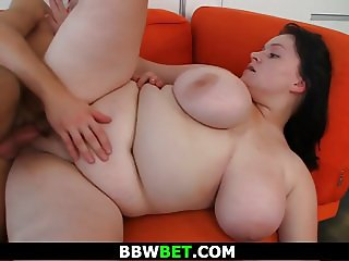 Fat girl blowjob and sex on the couch