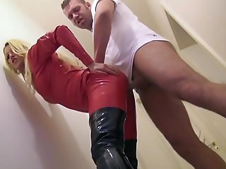 Blonde Slut In Red Latex Cat Suit and Thigh Boots Ass Fucked
