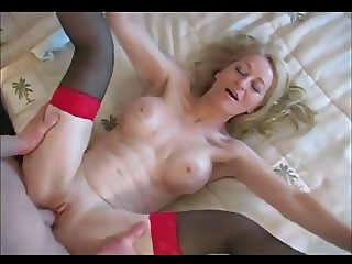 Beautiful blonde granny having anal sex