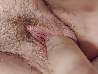 Making her big hairy pussy flood with her big 13 in.toy
