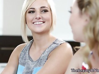 Beautiful Blonde lesbian teens face sitting