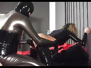 Kinky Couple Fuck In Full Latex Cum On Pussy