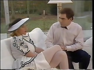 Lady in white stockings give lucky guy a handjob