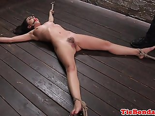 Restrained bdsm sub whipped and pussy toyed