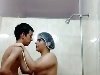 Indian couple in shower