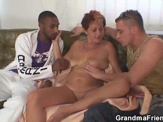 Interracial threesome sex with hot grandma