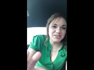 Cute Girl BJ & Swallow In Car