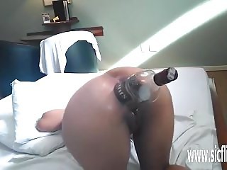 Anal fisting and whiskey bottle penetration