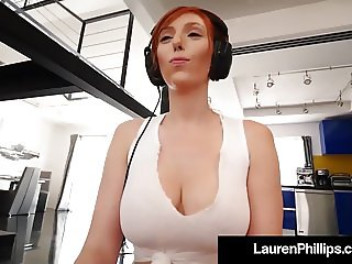 Natural Boobed Lauren Phillips Milks Her Joystick & It Cums!