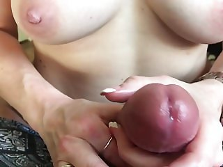 Sexy amateur topless slow motion wife handjob